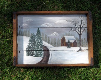 Rustic Vintage Serving Tray With Snow Scenery Painting. Rustic Tray, Cabin Decor. Wood Serving tray.
