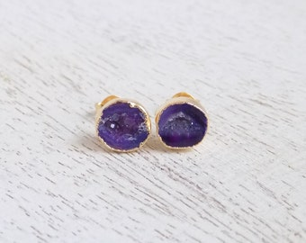 Purple Geode Earrings Stud, Geode Studs, Geode Stud Earrings, Agate Earrings, Druzy Earrings, Druzy Studs One of a Kind Gifts For Her G7-728