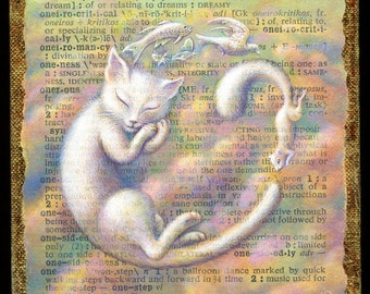 Dreamy cat art print, Oneiric: sleepy white cat & flying animal friends, soft color clouds. Sweet nursery décor, letter O, cat painting