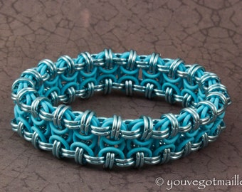 Stretchy Baby Blue Chainmaille Bracelet