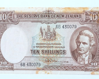 New Zeland 10 Shillings Old Currency, Fleming Ten Shillings 1956-1967, Ten Shillings New Zealand Old Currency