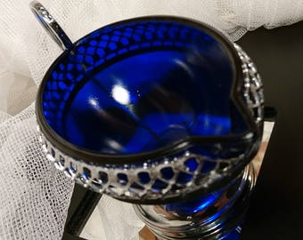 Beautiful vintage blue glass and metalware sauce boat, vintage glass gravy boat, vintage blue glass