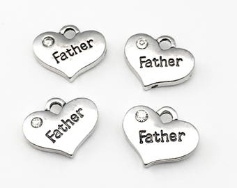 4 father heart charms  antique silver, 16mm # CH 147