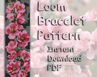 Loom Bead Pattern, Bracelet Pattern, Seed Beading Pattern, Bead pattern, loom Pattern, Cuff pattern, PDF Instant Download, Apple Blossom