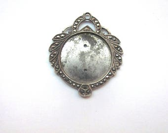 Vintage Sterling Marcasite Pendant Jewelry Supply