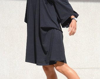 Asymmetrical tunic, loose oversized cotton dress, mid knee dress, long sleeve black tunic for oversize women, stylish everyday wear dress