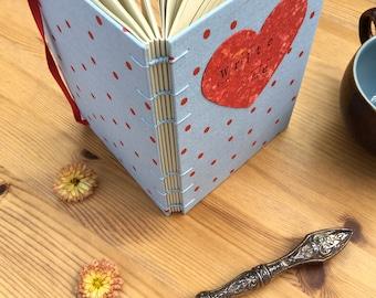 Address book, coptic address notebook, light blue, polka dot, red heart, tenner tuesday