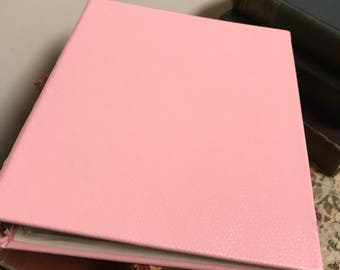 Vintage Pink Leather Photo Album Memory  Keepsake Book  Shabby Chic Girl's Picture Book Nursery Decor Baby