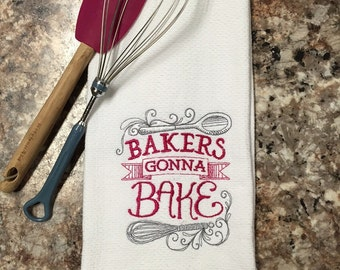 Unique funny kitchen towels, fun hostess gift, embroidered dish towels, Bridal shower gift, Housewarming gift, kitchen dish towels