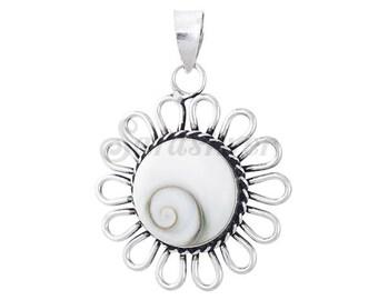 Sterling Silver Shiva Eye Flower Pendant