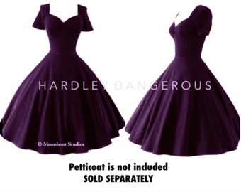 Vintage Plum Pin Up Swing Dress with Retro Short Sleeves and 1950s Style Fit n Flare, Couture Pinup Dress, Made in the USA