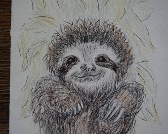 Sloth, pencil and ink drawings, original artist, lazy person, slacker images, emotional art