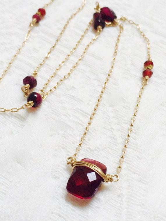 Garnet Necklace - January Birthstone Jewelry - Root Chakra Necklace, Grounding - Garnet Pendant - Delicate Garnet Necklace - Wedding