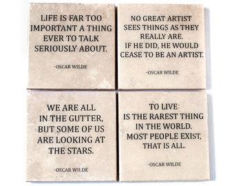 Quote Coaster Set: Oscar Wilde (4 Stone Coasters, Bare Stone with Black Text) Literature Home Decor
