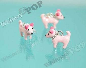 CLEARANCE SALE - 3D Pink Puppy Dog Enamel Crystal Rhinestone Terrier Dog Pendant Charm, Dog Charm, Puppy Charm, B-GRADE 27mm x 18.5mm (4-6J)