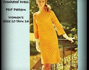 Misses Crochet Dress Pattern - Women Size 10 thru 16 - PDF 11223130