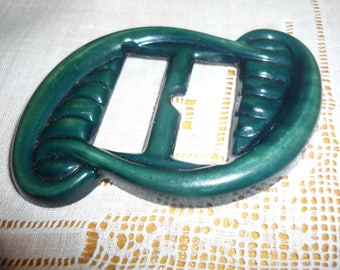 1 Vintage Celluloid  Buckle - Rectangular embossed shape - green - 1940