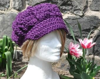 Eggplant Newsboy Hat - Women's Crochet Hat with Brim -  Women's winter accessories Fall Accessories Brimmed Hat
