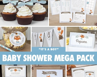 Boy Woodland Baby Shower Mega Pack // INSTANT DOWNLOAD // Fox Baby Shower Games & Decorations // Printable BS01