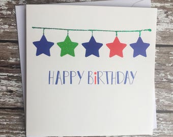 Stars bunting - blue & red