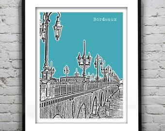 Bordeaux France Skyline Poster Print  Item T1030