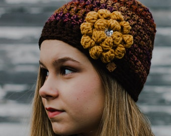 Gift for Women Friends - Luxurious Brown Hand Crochet Hat for Women