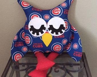 Chicago Cubs Handmade Stuffed Owl