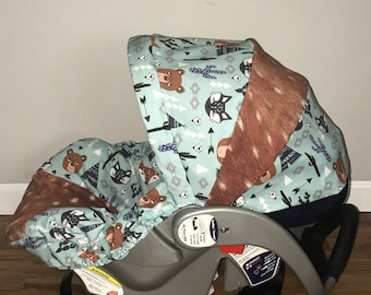 fox, bears and racoon tribal woodland critters fabric carseat cover with minky dot strap covers and free monogrammed faux hide