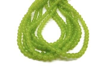 Green Malaysia Jade - 6mm Round Bead - Chartreuse Lime Translucent - 64 beads - Full Strand - Avocado Pea Limeade Bright Green - quartz