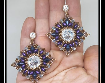 Wisteria earrings, elegant earrings, rhombus earrings, purple earrings, Swarovski earrings, ceremonial earrings, beaded jewelry