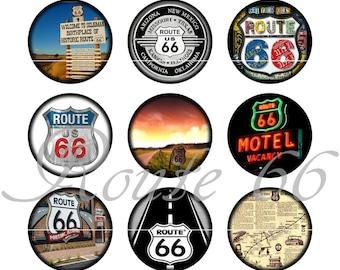 """Route 66 Magnets, Route 66 Pins, Route 66 Badges, 1"""" Flat, Hollow Bks, Cab, Set 3"""