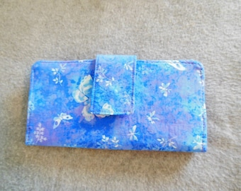 Fabric Wallet - Blue with Butterflies