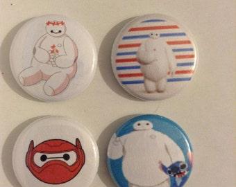"""1"""" Big Hero 6 Pinback Buttons Set Of (4)"""