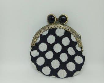 Wallet black and white polka dots