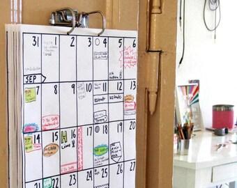 wall calendar Jul 2018 - Dec 2019