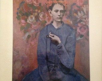 """Picasso Signed Lithograph Print, Boy with Pipe, Garcon a la Pipe, 1905, Flower WIngs, Angel, Gallery Stamp, Frame 22.75 x 18.5"""""""