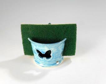 Ceramic sponge holder, pottery sponge caddy, stoneware butterfly spongeholder, kitchen or bathroom sponge holder, sponge holder blue glaze
