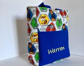 Personalized Toddler Tote Bag, Toddler Tote Bag, Preschool Bag, Preschool Backpack Paw Patrol Fabric