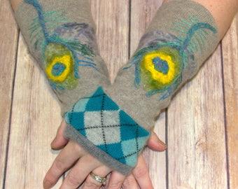 Fingerless Gloves - Cashmere Gloves - Gloves for women - Winter Gloves - Felted Gloves - Sweater Gloves - Upcycled Gloves -Eco Gloves