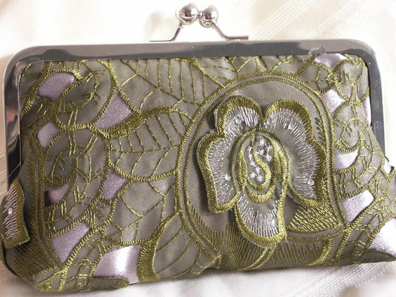 Handmade, lace, satin clutch handbag. Green, silver. SPRING LACE by Lella Rae on Etsy