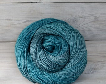 Starbright - Hand Dyed Bluefaced Leicester Silk Heavy Lace Light Fingering Yarn - Colorway: Fjord