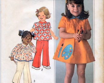Vintage Toddler's Dress Or Top And Pants Sewing Pattern - Simplicity 7604 - Size 3