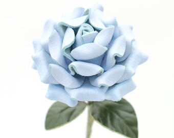 Leather flower blue rose long stem leather flower third anniversary wedding gift 3rd anniversary leather anniversary bouquet