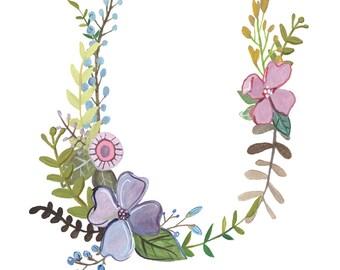 U - Floral Letter Illustration - Floral Typography Print