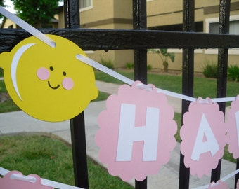 Pink Lemonade Happy Birthday Banner - Can also be made with scalloped circles in Hot Pink