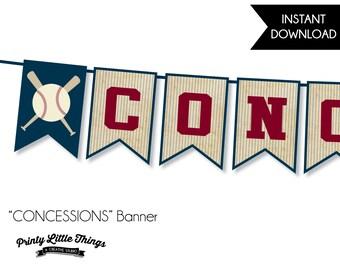 INSTANT DOWNLOAD - Vintage Baseball Concessions Banner