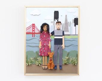 custom portrait, couples portrait, san francisco art, San Francisco skyline, golden gate bridge art, Paper art sculpture, gift for couple