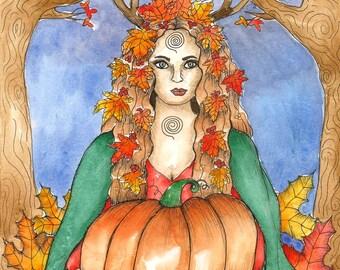 Goddess Art Mabon Goddess Art Print Fall Equinox Pagan Art Fall Goddess Samhain Sabbat Art Divine Sacred Feminine Spiritual Art Altar Art