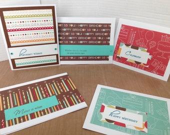 Birthday Card Set, Set of 5 Birthday Cards, Handmand Birthday Greeting Cards, Assortment of Birthday Cards