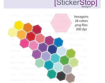 Hexagon Clipart 28 colors, PNG Digital Clipart - Instant download - hexagon hexi stop sign